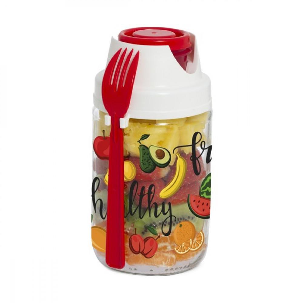 Банка-контейнер с вилкой HEREVIN Fruit-Salad 660мл 131614-001
