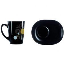 Набор чашка чайная с блюдцем Luminarc Sequins Black 220мл 2пр