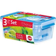 Набор из 3х контейнеров Emsa CLIP&CLOSE 3D 1л; 2,3л; 3,7л