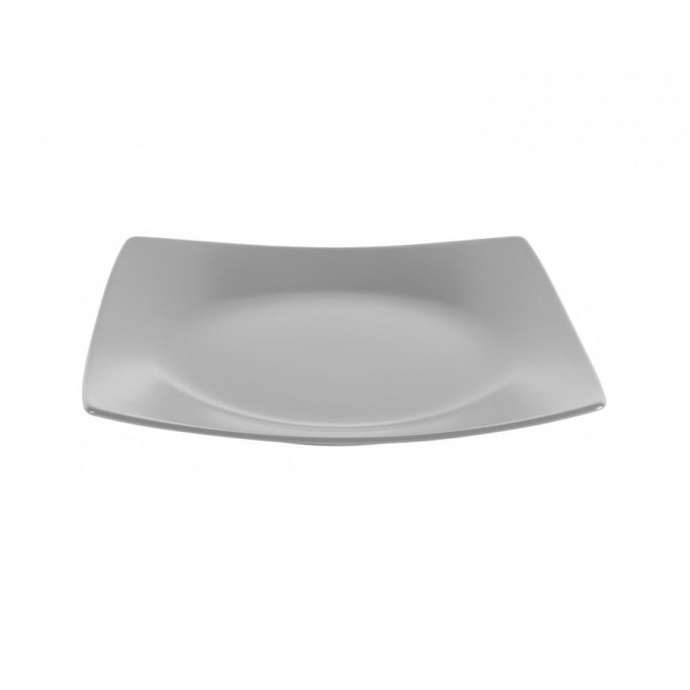 Тарелка обеденная квадратная серая Ipec London 25х25см FIL25G