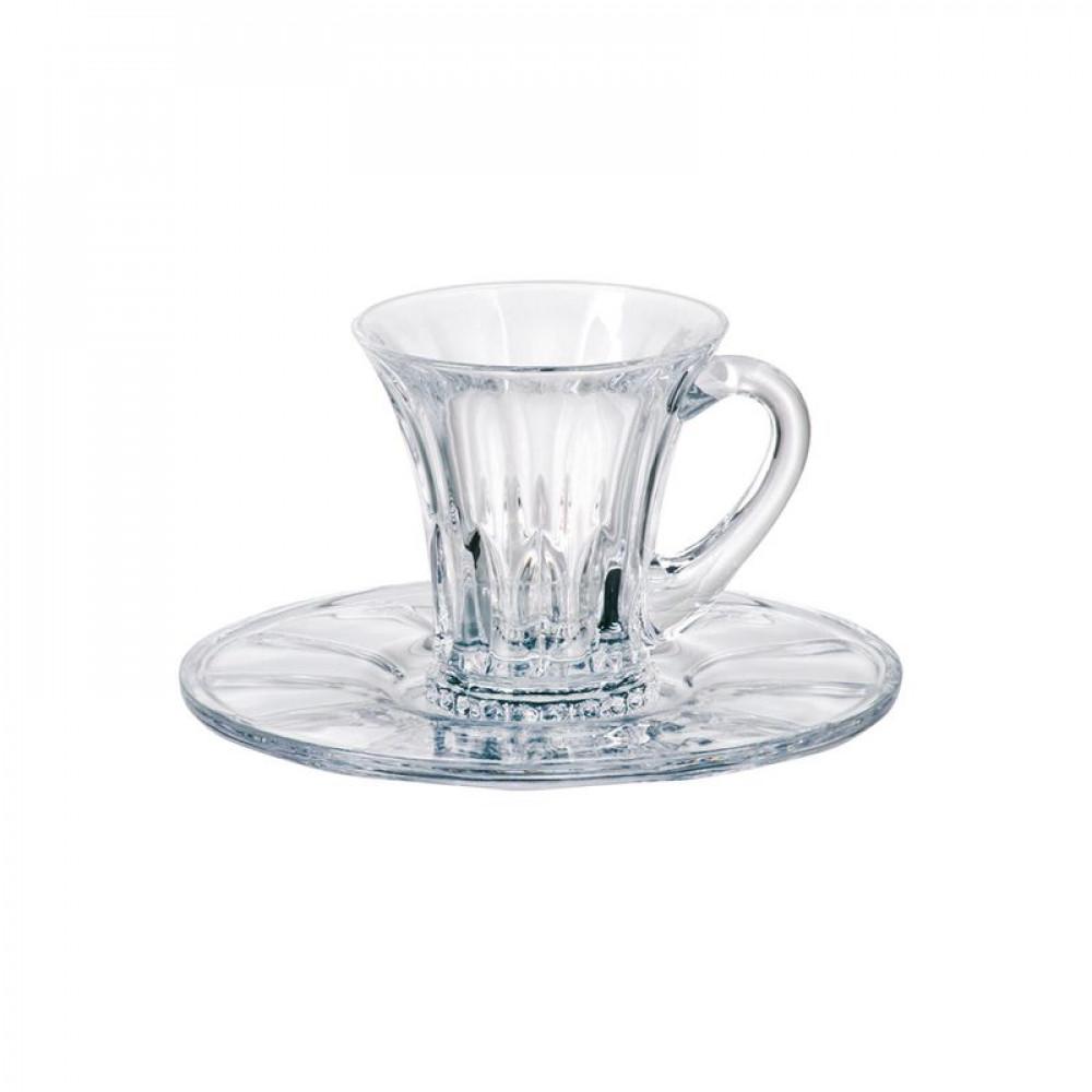 Набор чашек с блюдцами Bohemia Wellington 100мл -6шт 99999 99S37 999