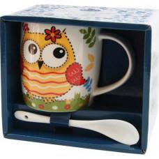 Кружка с ложкой Milika Owl Yellow 350мл Color M0520-NM-12-B