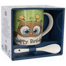 Кружка с ложкой Milika Owl Happy 350мл Color M0520-NM-12-F