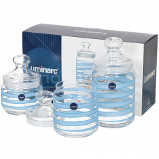 Набор банок для сыпучих Luminarc Spiral Blue 3пр Q0394